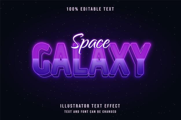 Galáxia espacial, efeito de texto editável em 3d gradação rosa estilo de texto neon roxo