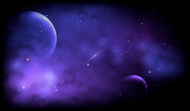 Galáxia realista com fundo de planetas