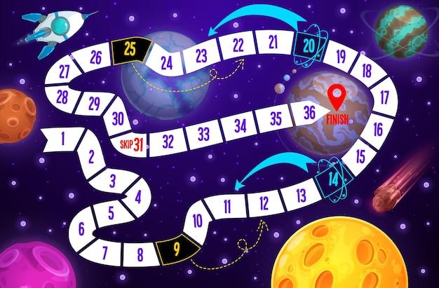 Galaxy kids jogo de tabuleiro, nave espacial e planetas.
