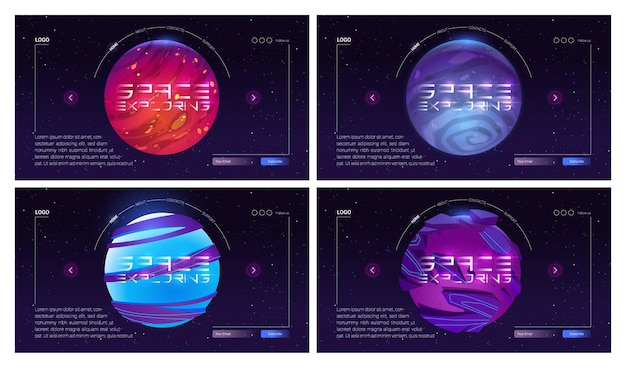 Galaxy travel cartoon landing page com planetas no espaço sideral objetos cósmicos no céu estrelado escuro cosmos e universo exploração aventura viagem científica fantasia futurista web banner