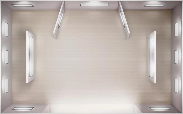 Galeria de arte da vista superior do interior vazio do museu renderização