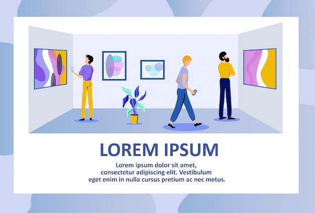Galeria de arte de publicidade banner de texto com visitantes