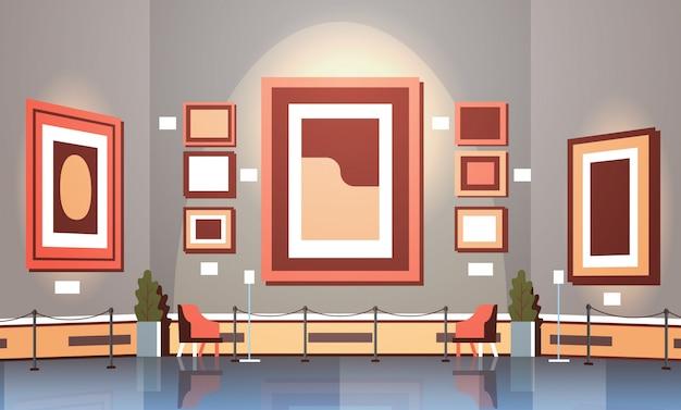 Galeria de arte moderna no interior do museu pinturas contemporâneas criativas obras de arte ou exibe apartamento horizontal