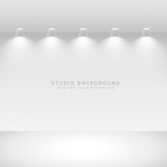 Galeria de estúdio interior com as luzes do ponto