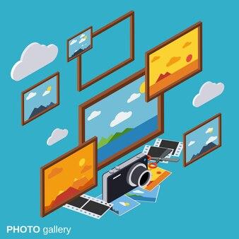 Galeria de fotos plano isométrico vector conceito ilustração