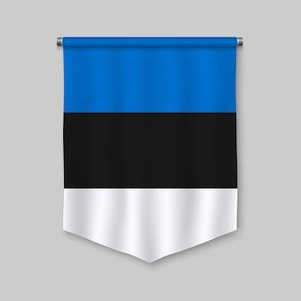 Galhardete realista 3d com bandeira da estónia