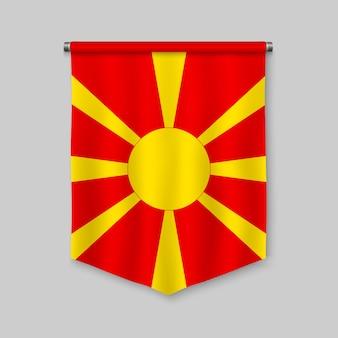 Galhardete realista 3d com bandeira da macedónia