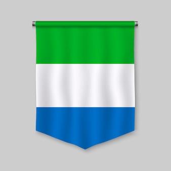 Galhardete realista 3d com bandeira da serra leoa