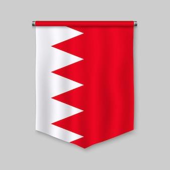 Galhardete realista 3d com bandeira do bahrein