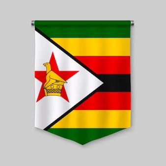 Galhardete realista 3d com bandeira do zimbabué