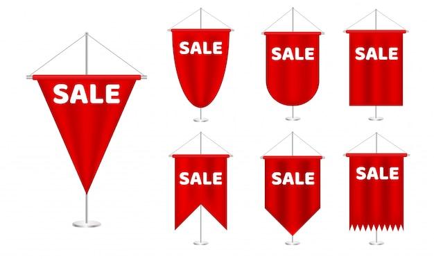 Galhardete vermelho realista com inscrição venda. banner de oferta especial festival comercial global. venda de dia. coleção de galhardete de banner.