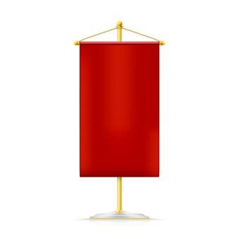 Galhardete vertical vermelho com cordão de ouro pendurado no suporte dourado