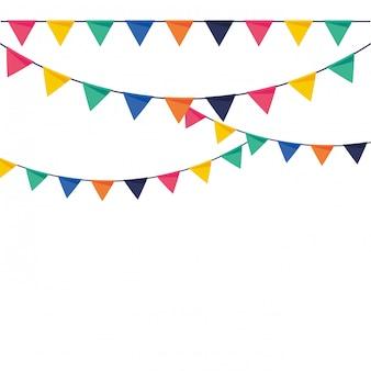 Galhardetes de festa ilustração em vetor de colorido liso