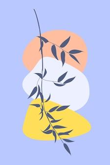 Galho de árvore no estilo boho arte de moda abstrata minimalista. ilustração em vetor simples e plana.