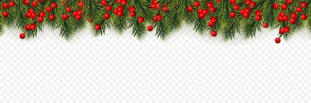 Galhos de árvore de natal com bagas de azevinho
