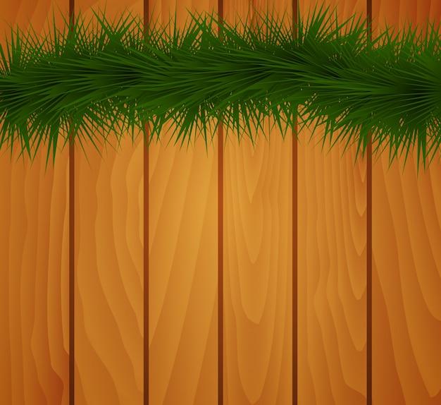 Galhos de árvore do abeto de natal em madeira rústica.