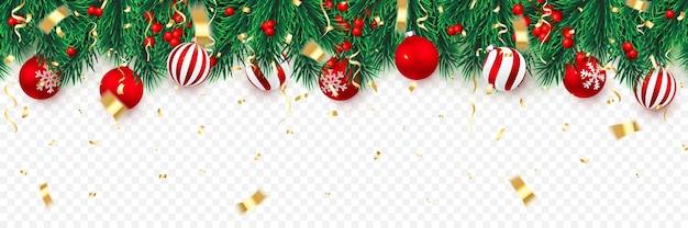 Galhos de árvores de natal com bagas de azevinho e bolas de natal