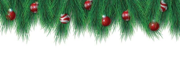 Galhos de árvores de natal e bolas de natal isoladas em branco