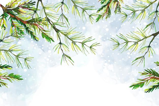 Galhos de árvores natal fundo aquarela