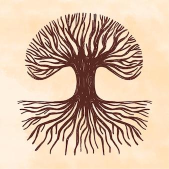 Galhos marrons e vida em árvore