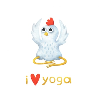 Galinha branca dos desenhos animados medita sentado. eu amo ioga
