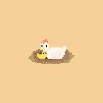 Galinha e pintainho bonitos do pixel no caráter de nest.8bit. dia da mãe.