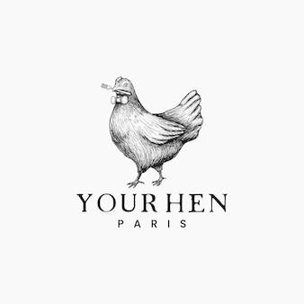 Galinha, logotipo do desenho de galinha para restaurante clássico