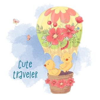 Galinhas de bonito dos desenhos animados em um balão.