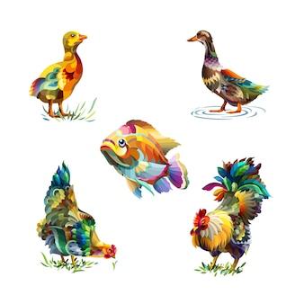 Galinhas e patos coloridos com ilustração vetorial de peixes