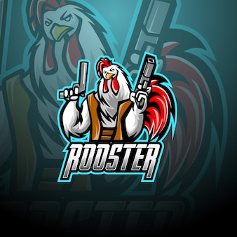 Galo com design de logotipo de mascote de arma