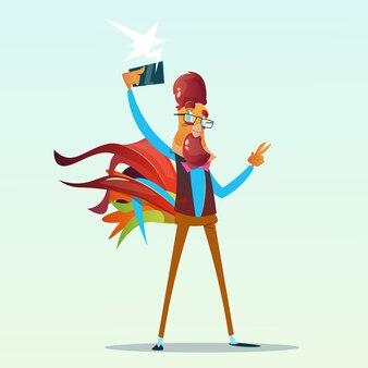 Galo de desenho animado hipster fazendo selfie