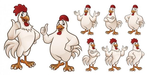Galo de desenhos animados e coleção de frango