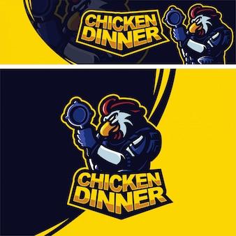Galo de galinha com logotipo de mascote premium pan