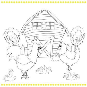 Galo e galinhas no bacgroung da paisagem de uma fazenda rural - livro para colorir