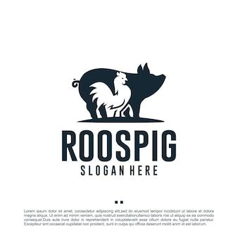 Galo e porco, fazenda de animais, inspiração para design de logotipo