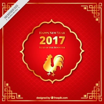 Galo fundo do ano novo chinês vermelho
