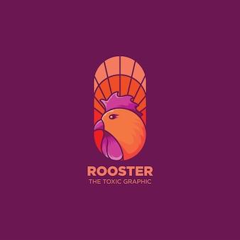Galo logotipo ilustração arte colorida