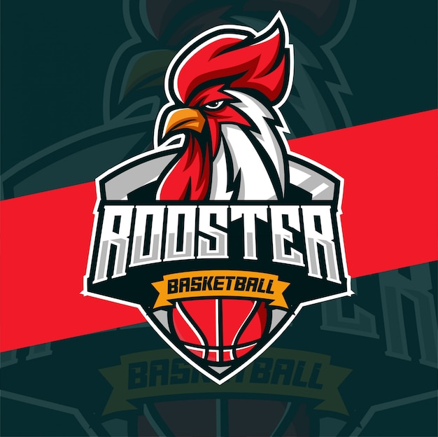 Galo mascote basquete esport logotipo
