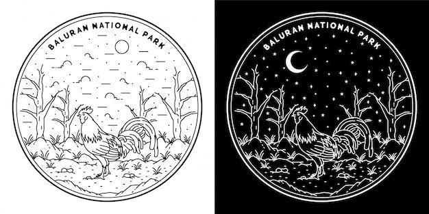 Galo no parque nacional baluran, design de distintivo em preto e branco de monoline, design ao ar livre