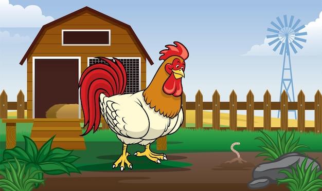 Galo no quintal da fazenda com estilo cartoon