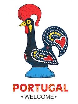 Galo português barcelos. símbolo de galo de portugal.
