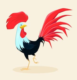 Galo vermelho com bela cauda exuberante e crista