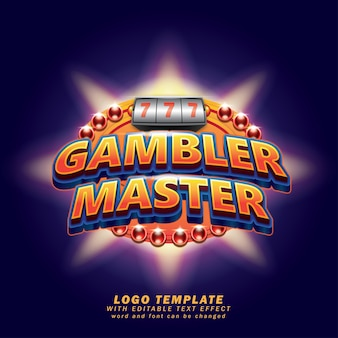 Gambler master game logo template efeito de texto editável
