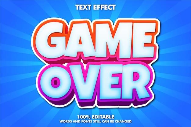 Game over banner, fonte editável de desenho animado