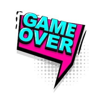 Game over comic text efeitos sonoros estilo pop art vector discurso bolha palavra desenho animado