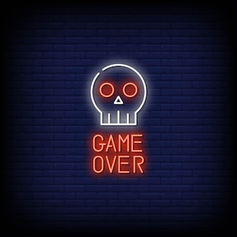 Game over neon signs style text vector