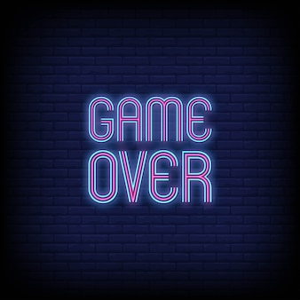 Game over neon signs text
