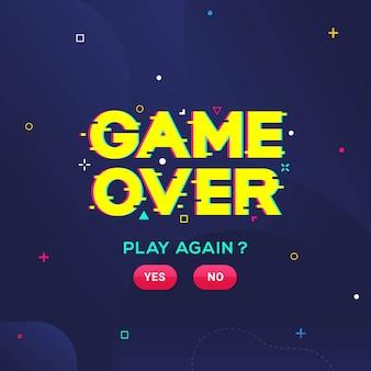 Game over palavra com efeito de falha para ilustração vetorial de jogos