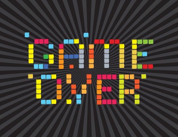 Game over (tela de jogos de vídeo) em fundo preto