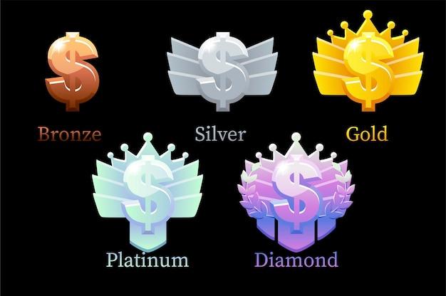 Game rank recompensa dólar, ouro, prata, platina, bronze, diamante, dinheiro, animação de 6 etapas para o jogo. ilustração definir ícones de finanças diferentes, melhorias de design.